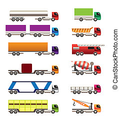 different types of trucks and lorries icons - Vector icon...
