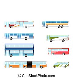 different types of bus icons - Vector icon set