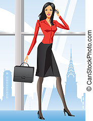 Business woman in office in New York - vector illustration