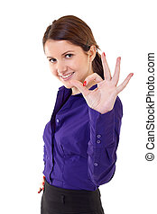 Young business woman indicating ok sign Isolated over white...
