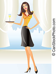 beautiful waitress in apron holding coctail in new york -...