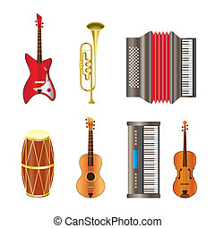 Musical instrument icons - vector icon set