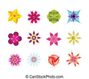12 abstract flower icons