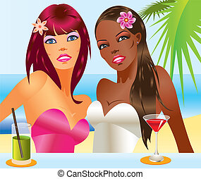 Two beautiful women with cocktails on the beach- vector...