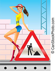 Under construction for internet web page - vector...