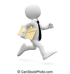 Man running with a letter