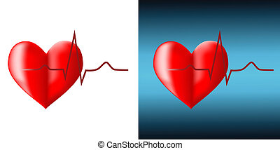 Cardiogram - Red cardiogram and heart on a white background