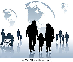 Children and parents - Silhouettes of the children and...