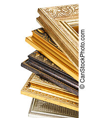 stack of picture frames