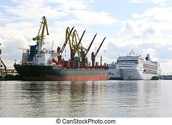 the freight ship and passenger ship in the trade port - the...