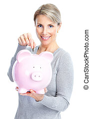 Woman with a piggy bank Isolated over white background