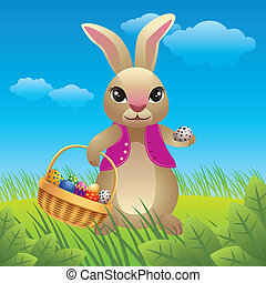 Easter Bunny - Easter bunny carrying eggs