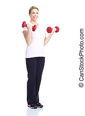Gym & Fitness. Smiling elderly woman working out. Isolated...