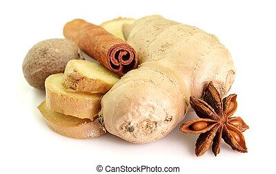 Spice - Ginger, nutmeg, cinnamon, anise on a white...
