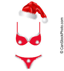 Christmas fashion - Set of christmas underwear on a white...