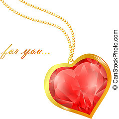 heart at golden chain - Ruby heart at golden chain over...