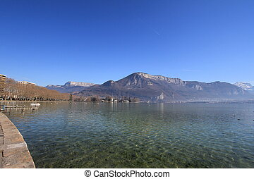 lake annecy - lake Annecy and mountains