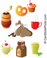 set of coffee and tea icons - set of vector glossy coffee...
