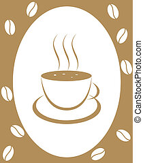 Coffee-beans and cup of coffee on a white background