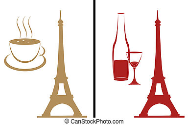 Coffee and wine - Vector silhouette of a tower on a...