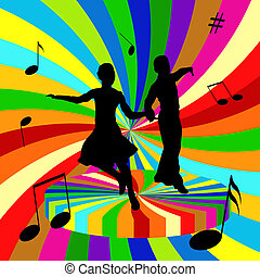 Colored waltz - Silhouettes of the dancing men and women on...