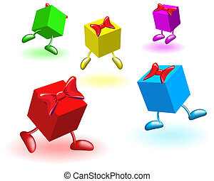 Colored boxs with bows