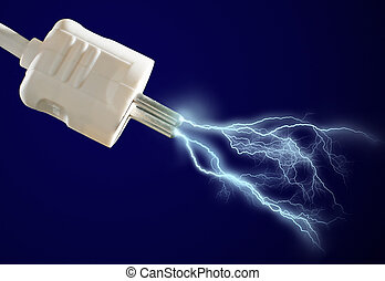 Electric discharge - Plug and electric discharge over black...