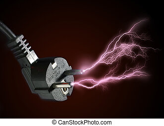 Electric discharge. - Plug and electric discharge over black...