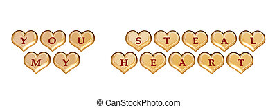 you steal my heart 1 - 3d golden hearts with red letters...