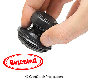 Hand and rubber stamp Rejected
