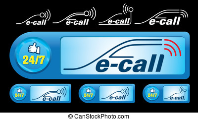 E-call - Illustration of call icon on isolated background