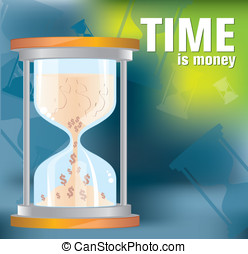 Time is money - hourglass vector. united states dollars...