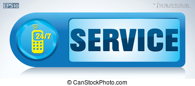 Service 247 round button - button round blue, vectorService...