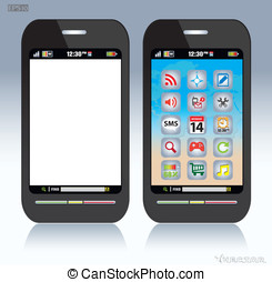 Cell phone - touch screen mobile phone. blank-screen mobile...
