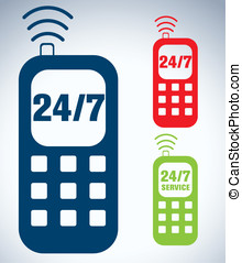 Service 24/7 phone icon - 24 / 7 icon. call service icon....