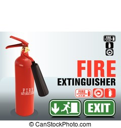 fire extinguishers. firefighting icons. vector EPS10