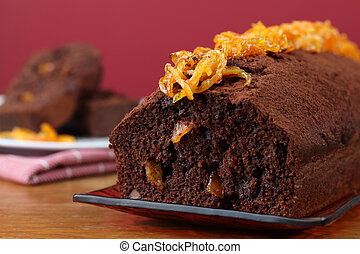 Chocolate cake with candied orange peel Shallow dof