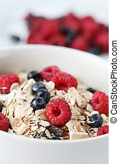 Granola with fresh berries - Granola with fresh organic...