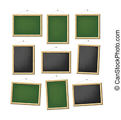blank boards - A set of blank green and black boards