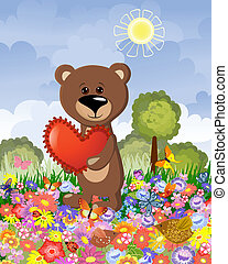 Bear in love on the lawn