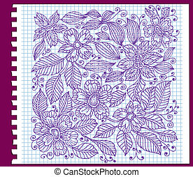 floral pattern with ink on paper