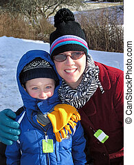 Mother and Son on the Ski Slopes