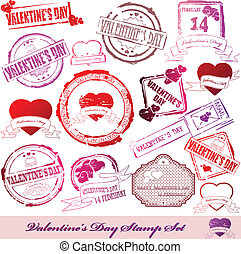 Set of Valentine Day stamps