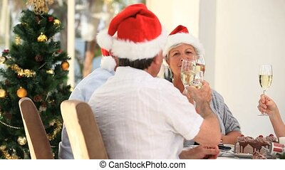 Elderly friends drinking champagne to celebrate Christmas in...