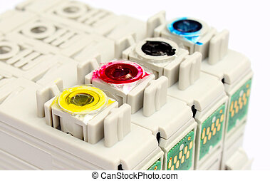 printer cartridges - Inkjet printer cartridges isolated over...