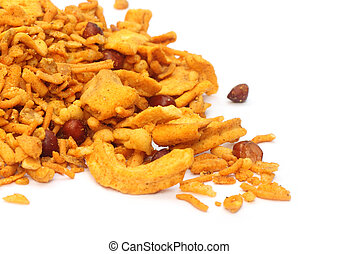 Chanachur or Bombay mix - Bombay mix over white background