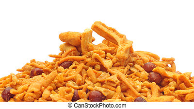 Chanachur or Bombay mix over white background