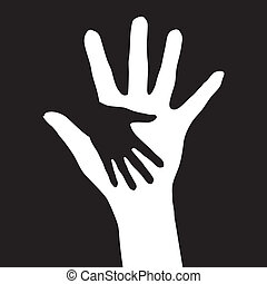Helping hands Vector illustration on black background