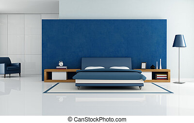 blue modern bedroom - contemporary blue bedroom with white...