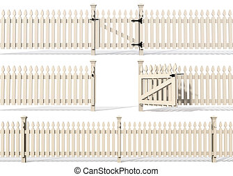 set of wooden fence isolated on white - rendering